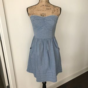 Mossimo Fit & Flare Chambray Polka Dot Dress MED
